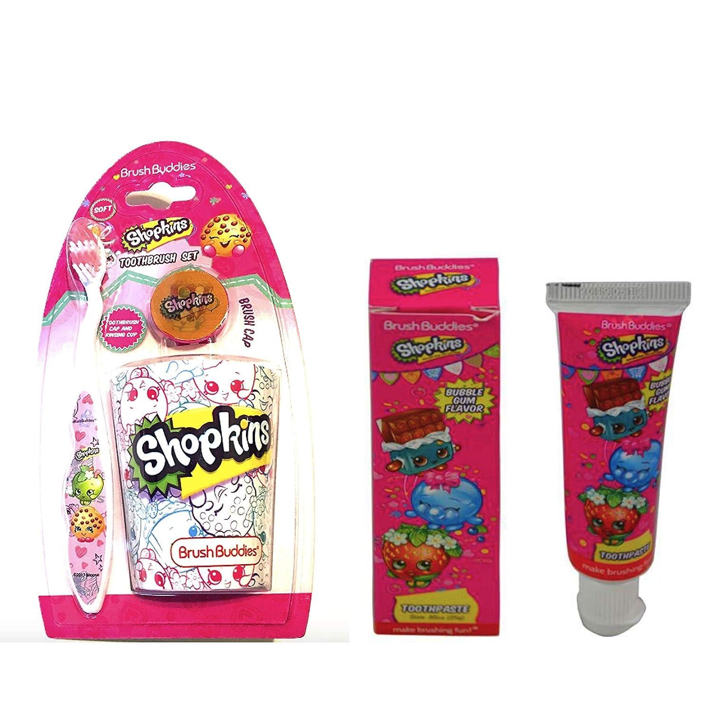 Shopkins 3 piece toothbrush cap  rinsing cup set