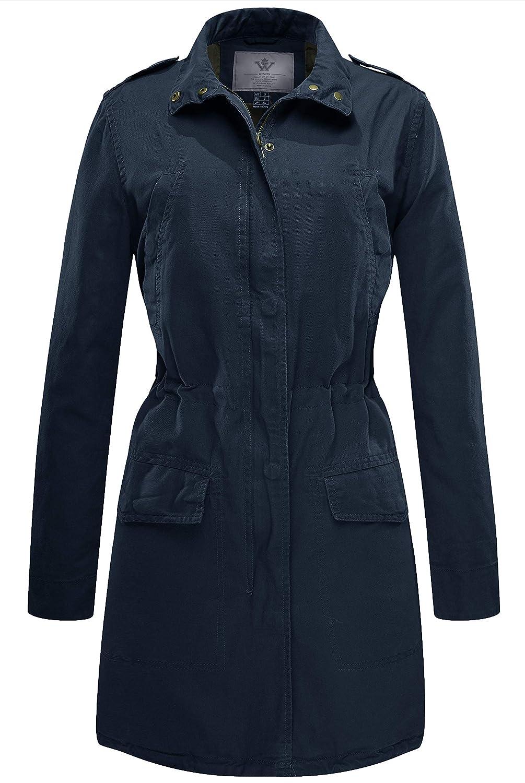 WenVen Women's Lapel Trench Coat Anorak Jacket Drawstring
