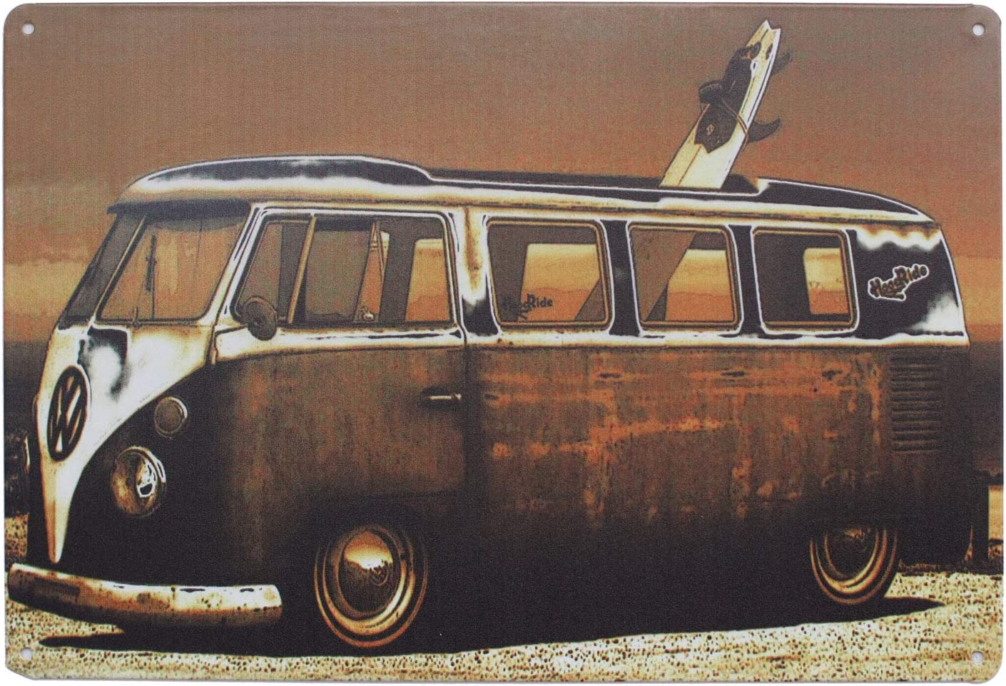 Vintage Home Bar Decor Metal Tin Sign Wall Art Plaque Bus /& Beach Pictures A