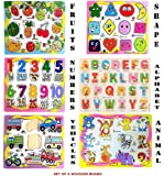 FunBlast (Set of 6 Puzzle Board) Wooden Colorful Learning Educational Board for Kids Set of 6 Puzzle Board Includes Fruits, Numbers, Shapes and Symbols, Animals, Vehicles, Alphabet