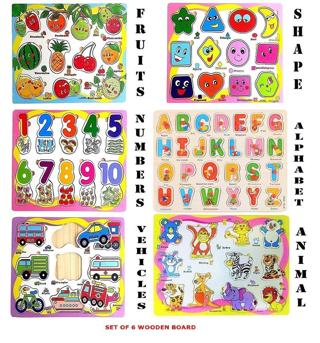 Funblast (Set Of 6 Puzzle Board) Wooden Colorful Learning