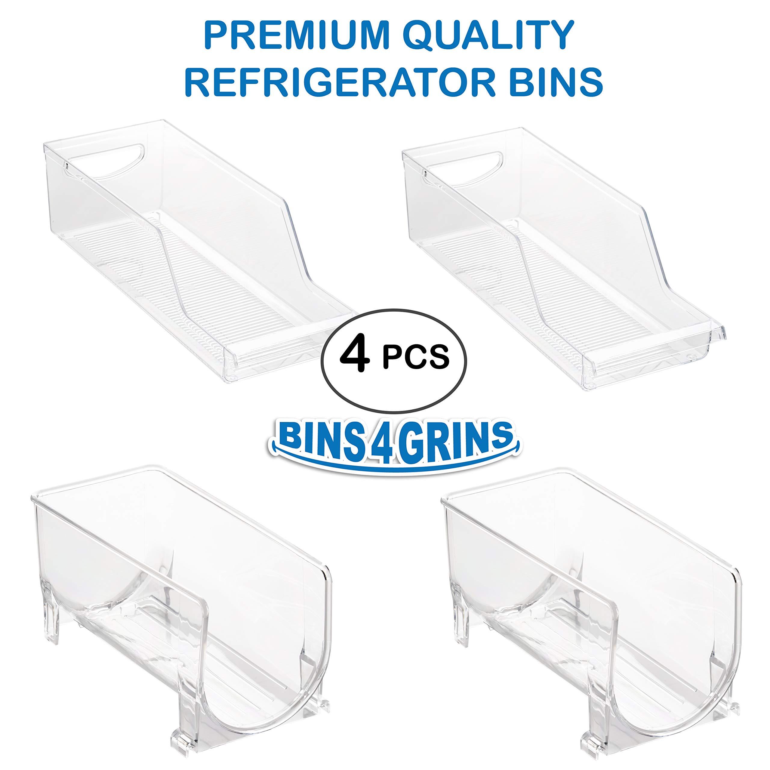 Stackable Bins Kitchen Storage Containers Refrigerator Organizer 4 pc Set Bins 4 Grins