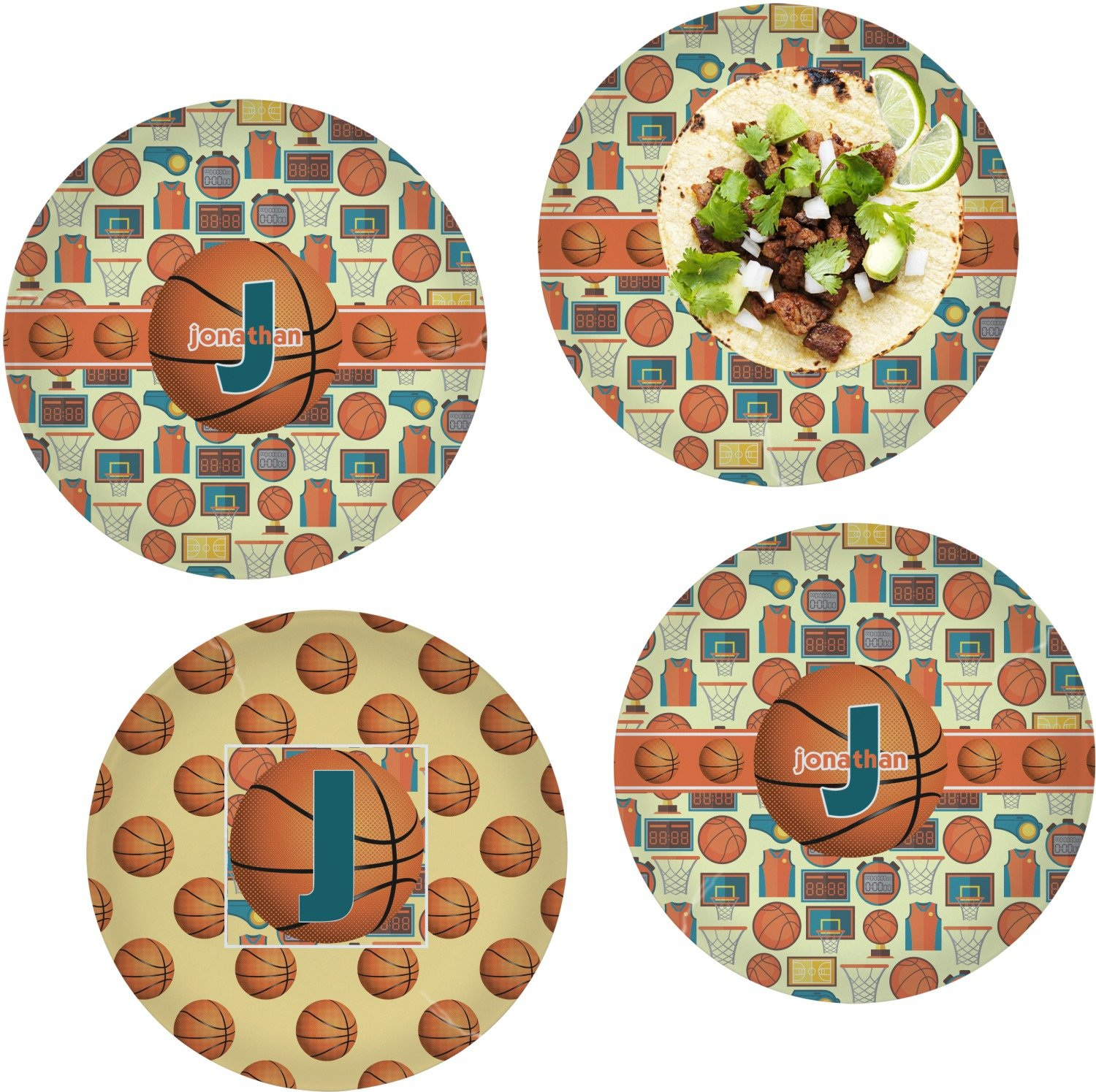Basketball Set of 4 Lunch / Dinner Plates (Glass) (Personalized)