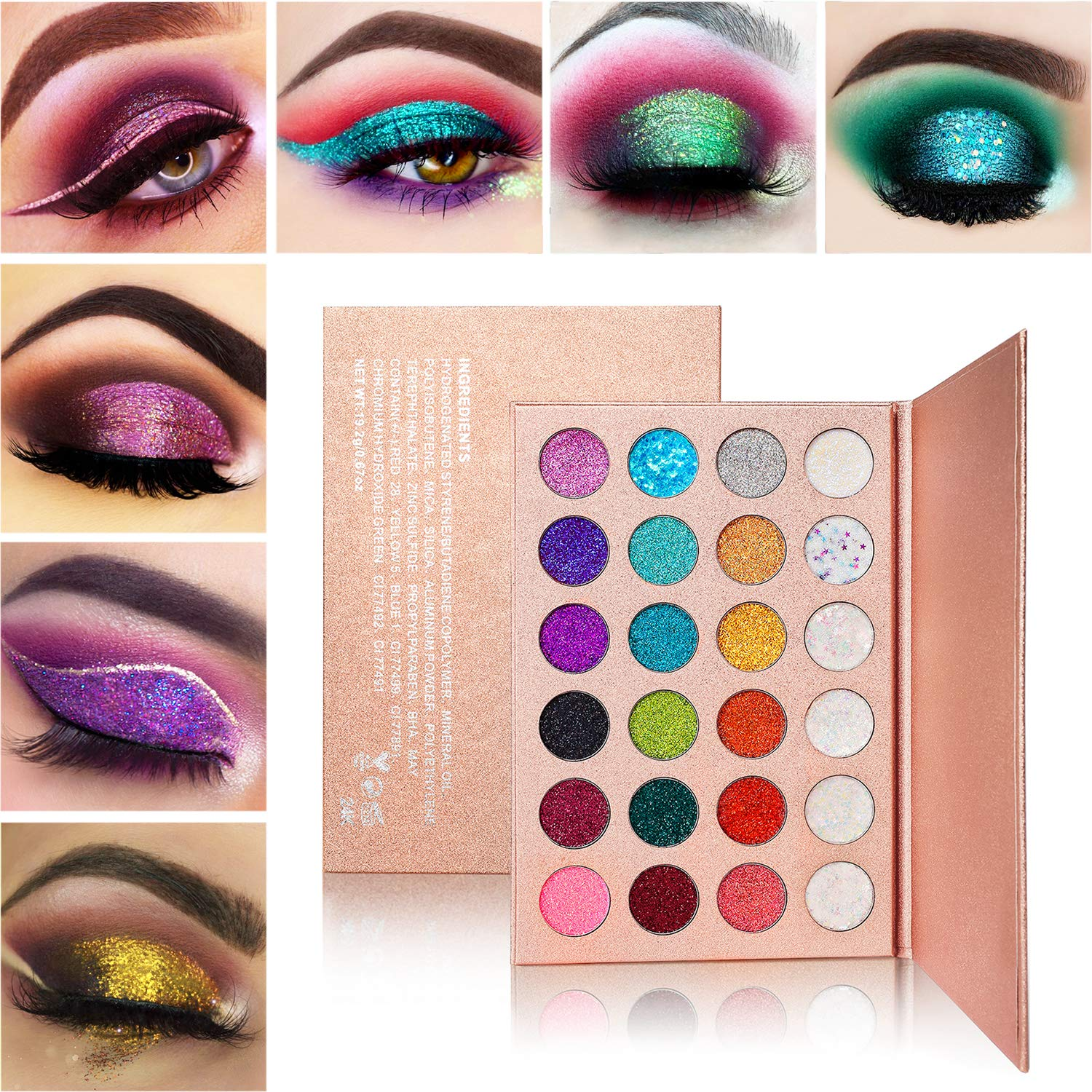 Glitter Eyeshadow Palette Makeup,Afflano Highly Pigmented Glitter Eyeshadow Pallet,Professional Pink Blue Green Red Gold Purple Long Lasting Waterproof (Glitter Eyeshadow Palette 24 Colors)