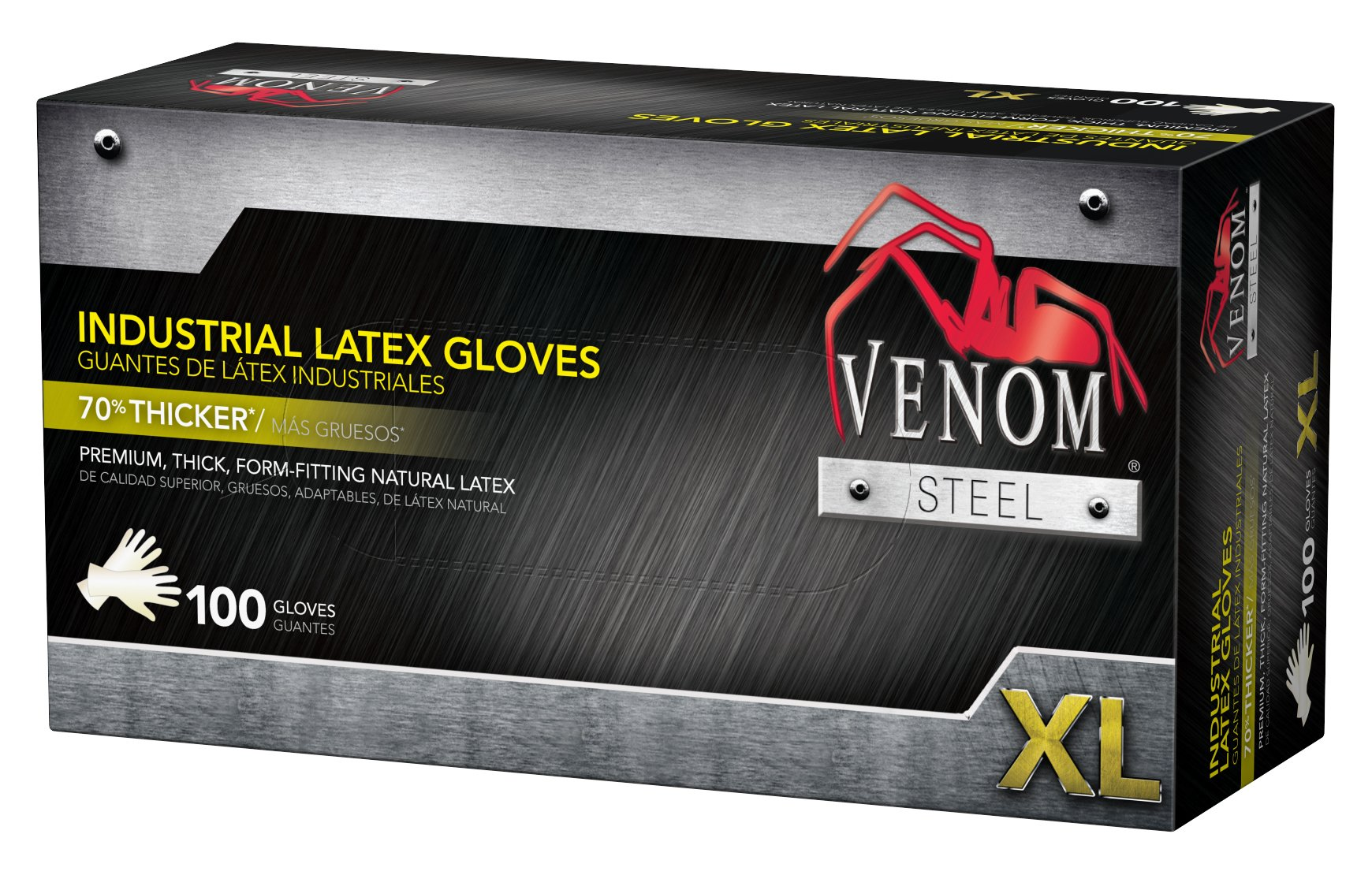 Venom VEN8124 Steel Industrial Latex Gloves, 8 mil, X-Large (Pack of 100)