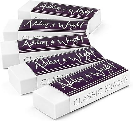 Goma de borrar clásica, sin látex, goma de plástico, 5 unidades, color blanco, de Ashton and Wright.: Amazon.es: Oficina y papelería
