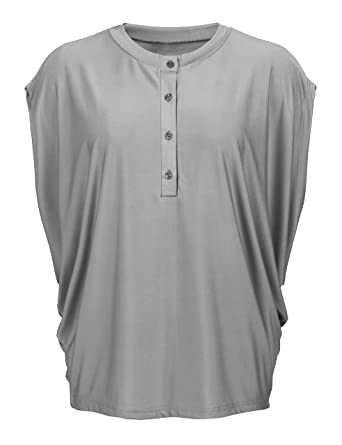 a92363442 Concep Oversized Batwing Top Cap Sleeve Scoop Neck Solid Color Button  Blouses Plus Size (Grey