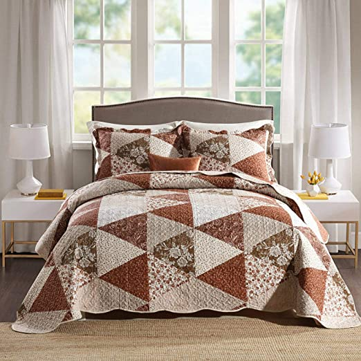 Premium Quality Reversible Quilted Bedspreads Single Size Floral Pattern Bed Comforter Set Multi Purpose Bedspread and Coverlets 1 Piece All Season Luxury Bed Throws and Blankets Microfibre Fabric