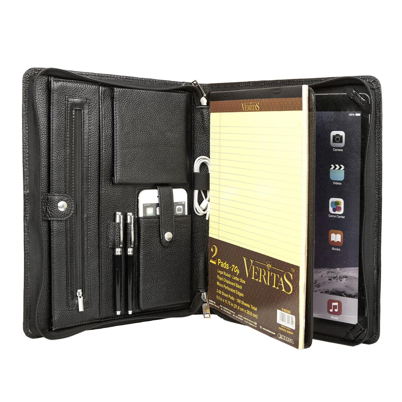 Coface Professional Portfolio Case for iPad Pro 12.9 |Executive Genuine Leather Padfolio Folder Oraganizer Folio with Notepad, Black (P16)