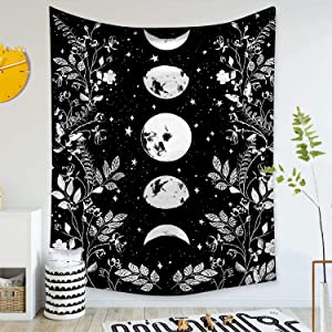 GALMAXS7 Moonlit Garden Tapestry Moon Phase Tapestry Surrounded by Vines and Flowers Black Wall Decor Tapestry Boho Cute Tapestry Witchy Room Decor Flower Tapestry Wall Hanging 60x80 inches