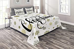 Ambesonne Christmas Coverlet, Merry Christmas Lettering on an Abstract Modern Snowflake Dot Pattern, 3 Piece Decorative Quilted Bedspread Set with 2 Pillow Shams, King Size, Charcoal Beige