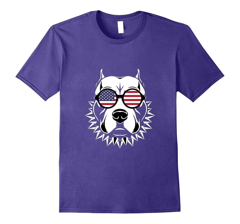 Pitbull Lover Dog T-shirt 4th of July Patriotic National