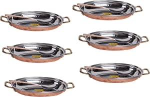 SHIV SHAKTI ARTS Handmade Stainless Steel & Copper Dish Serving Plate Copper oval platter With Serving Spoon Indian Home Food Homeware each::Set Of 6
