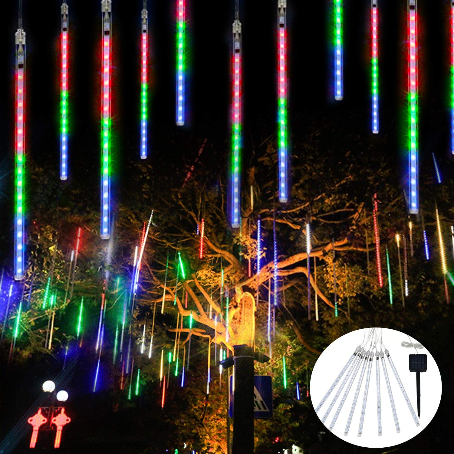 144 LED Solar//Plug Charged Meteor Shower String Lights Tree Lamp Falling Icicle