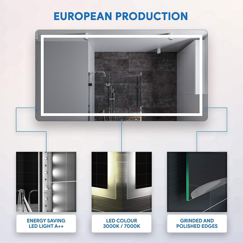 FORAM Personalizza Controluce LED Specchio con Interruttore e Accessori Caldo su Misura Freddo Bianco L63
