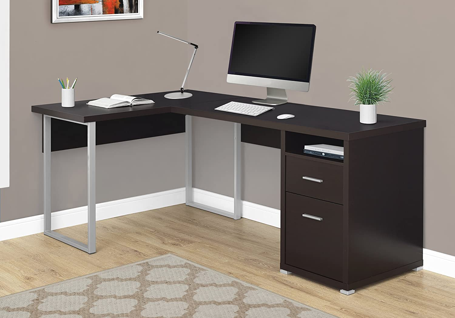 """Monarch Specialties Computer Desk L-Shaped Corner Desk with File Cabinet - Left or Right Set- Up - 80""""L (Cappuccino)"""