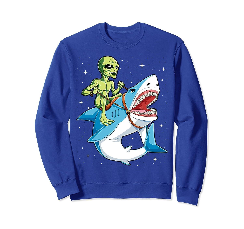 Alien Riding Shark Sweatshirt UFO Women Men Extraterrestrial-mt