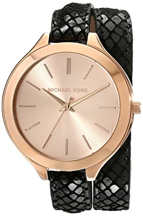 d8ea9f0a58c6 Image Unavailable. Image not available for. Color  Michael Kors Women s  MK2322 - Slim Runway Double Wrap Black Rosegold