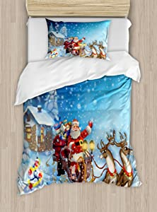 Ambesonne Christmas Duvet Cover Set, Santa in Sleigh with Reindeer and Toys in Snowy North Pole Tale Fantasy Image, Decorative 2 Piece Bedding Set with 1 Pillow Sham, Twin Size, Navy Blue