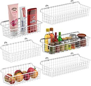 Wall Basket, Cambond Metal Wall Mounted Wire Baskets for Storage, Durable Hanging Wire Wall Basket Pantry Organizer for Kitchen, Home, Bathroom, Garage, Mount Hooks, 3 Large and 3 Small (White)