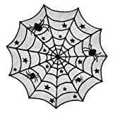 """DII 40"""" Round Polyester Lace Table Topper, Black Spider Web - Perfect for Halloween, Dinner Parties and Scary Movie Nights"""