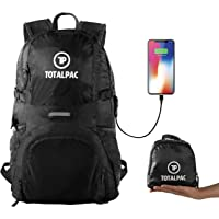 Totalpac Lightweight Backpack for Hiking & Travel - Durable Nylon 35L Ultralight Packable Outdoor Traveling Daypack for Men & Women - Small Foldable School Laptop Back Pack with USB Charging Port