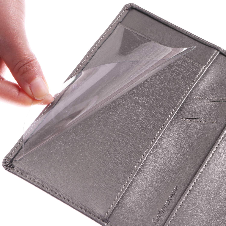 Leather Checkbook Cover with Pen Holder and Built-in Divider Basic Checkbook Holder Case for Men/&Women