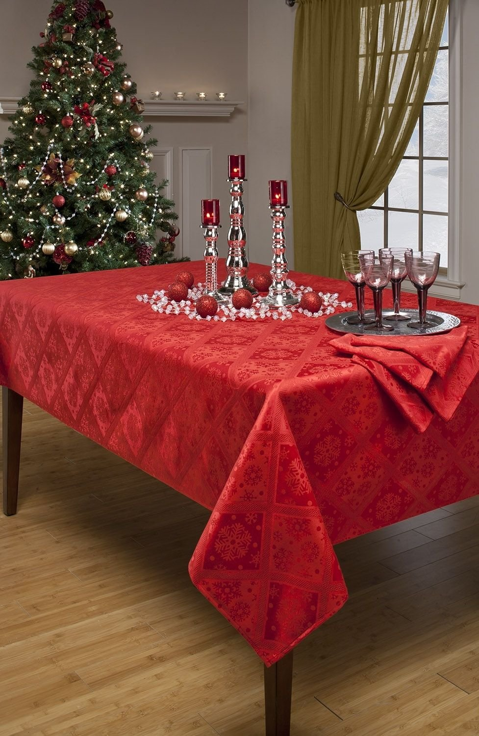 Image result for red brocade tablecloth