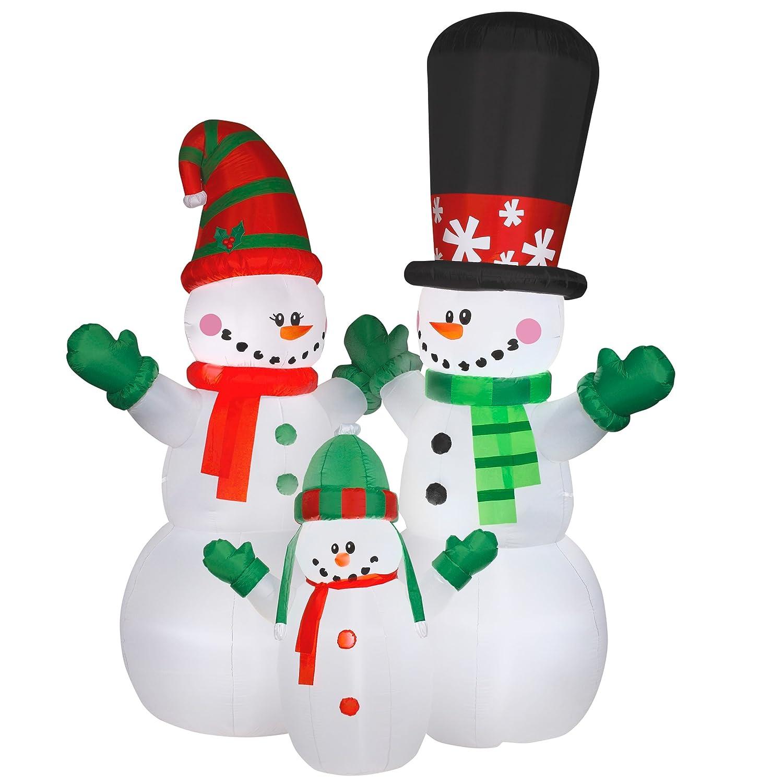 Amazon.com: National Tree GE9-89906-1 12 \' Inflatable Snowman Family ...