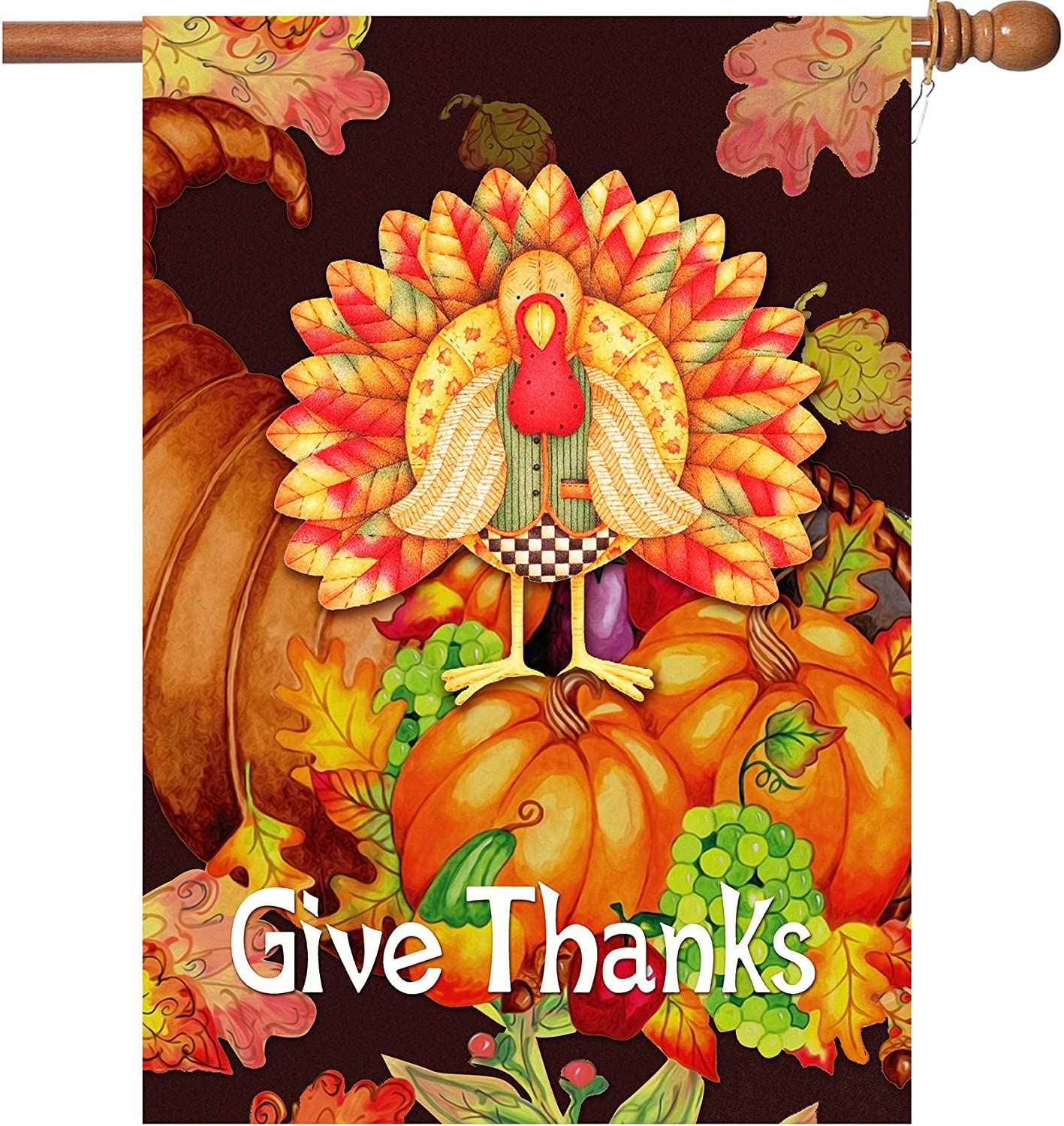 W&X Happy Thanksgiving Flags,Thanksgiving Garden Flag 28 x 40 Inch Thanksgiving House Flag Double-Sided 2 Layer Thanksgiving Turkey House Flag for Thanksgiving Decoration