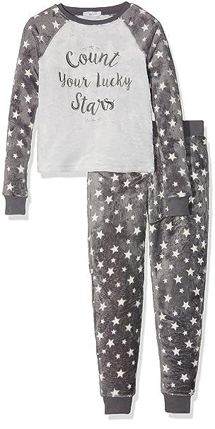 New Look Count Stars Fleece Onesie, Pijama de una Pieza para Niñas, Gris (