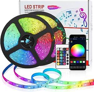 Sunvook LED Strip Lights 32.8ft Smart WiFi Waterproof LED Strip Lights Kit, SMD 5050 LED, RGB Colored Rope Light Strip Works with Alexa,Google Home for Bedroom,Home,Indoor,Kitchen,Party DIY Decoration
