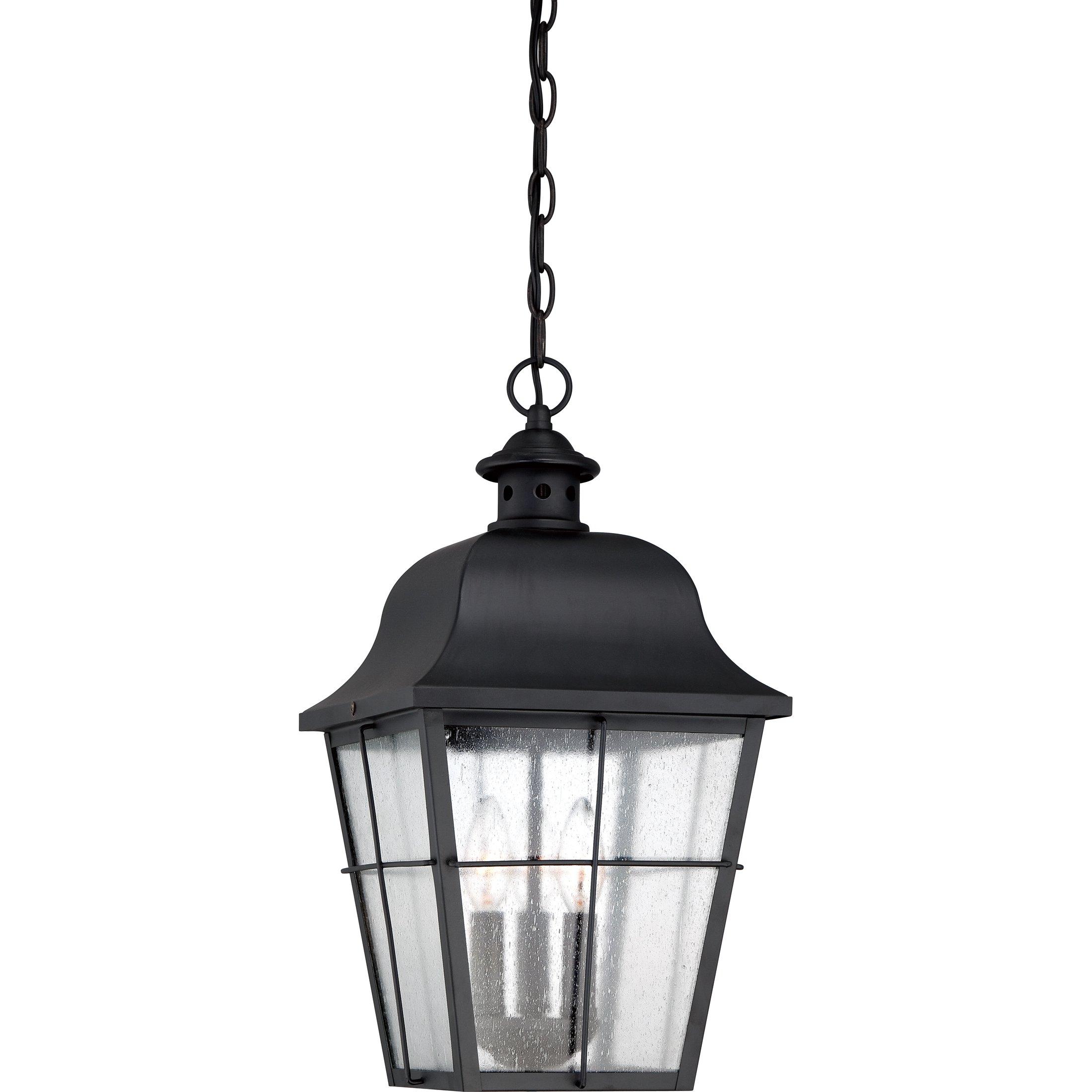 Quoizel MHE1910K 3-Light Millhouse Outdoor Lantern in Mystic Black