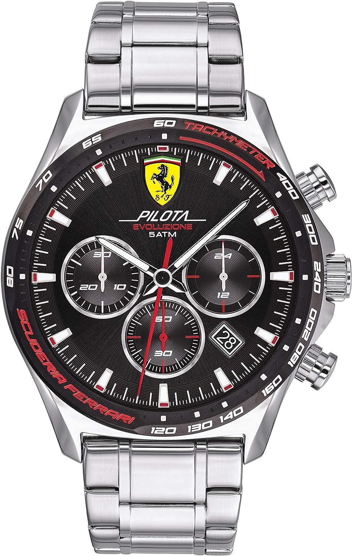 Amazon Com Ferrari Men S Pilota Evo Quartz Watch With Stainless Steel Strap Silver 22 Model 0830714 Watches
