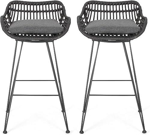 Great Deal Furniture Lisa Outdoor Wicker Barstools