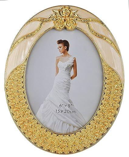 INTERNATIONAL GIFT Photo Frame Oval Shape (Size - 6/8, Gold)