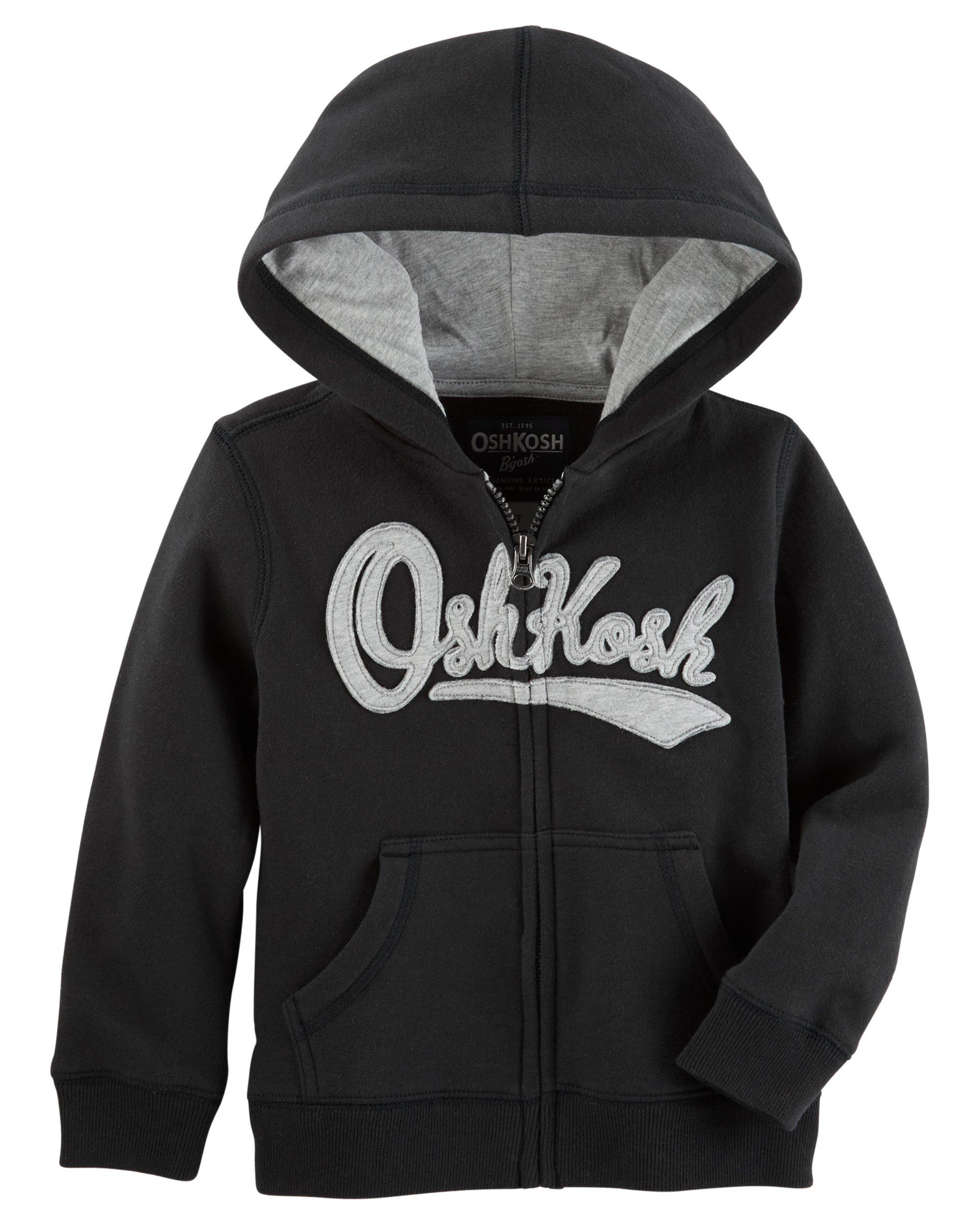 OshKosh B'Gosh Boys' Toddler Full Zip Logo Hoodie, Midnight Black, 3T