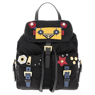 8a5fa846f462 Amazon.com  Prada Women s Nylon and Saffiano Robot backpack Black +  Multicolor Black + Multicolor  Shoes