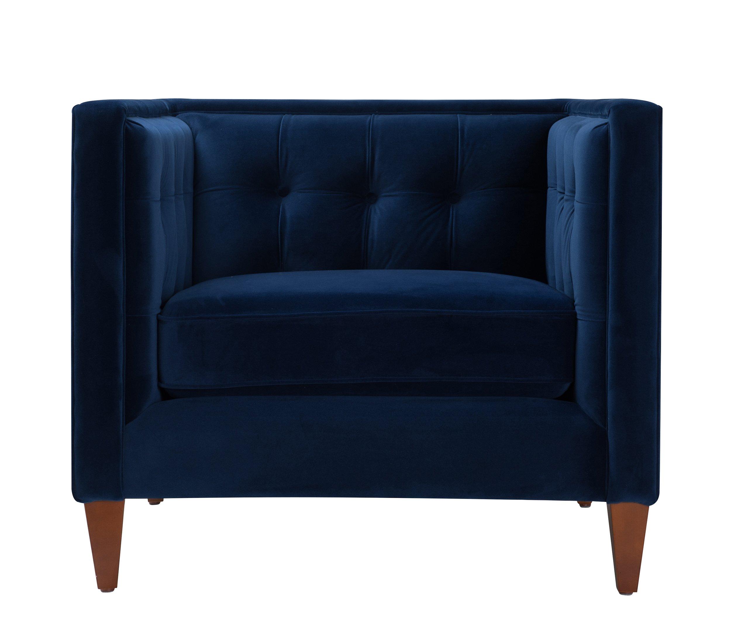 Jennifer Taylor Jack Tufted Arm Chair, Estate Blue by Jennifer Taylor