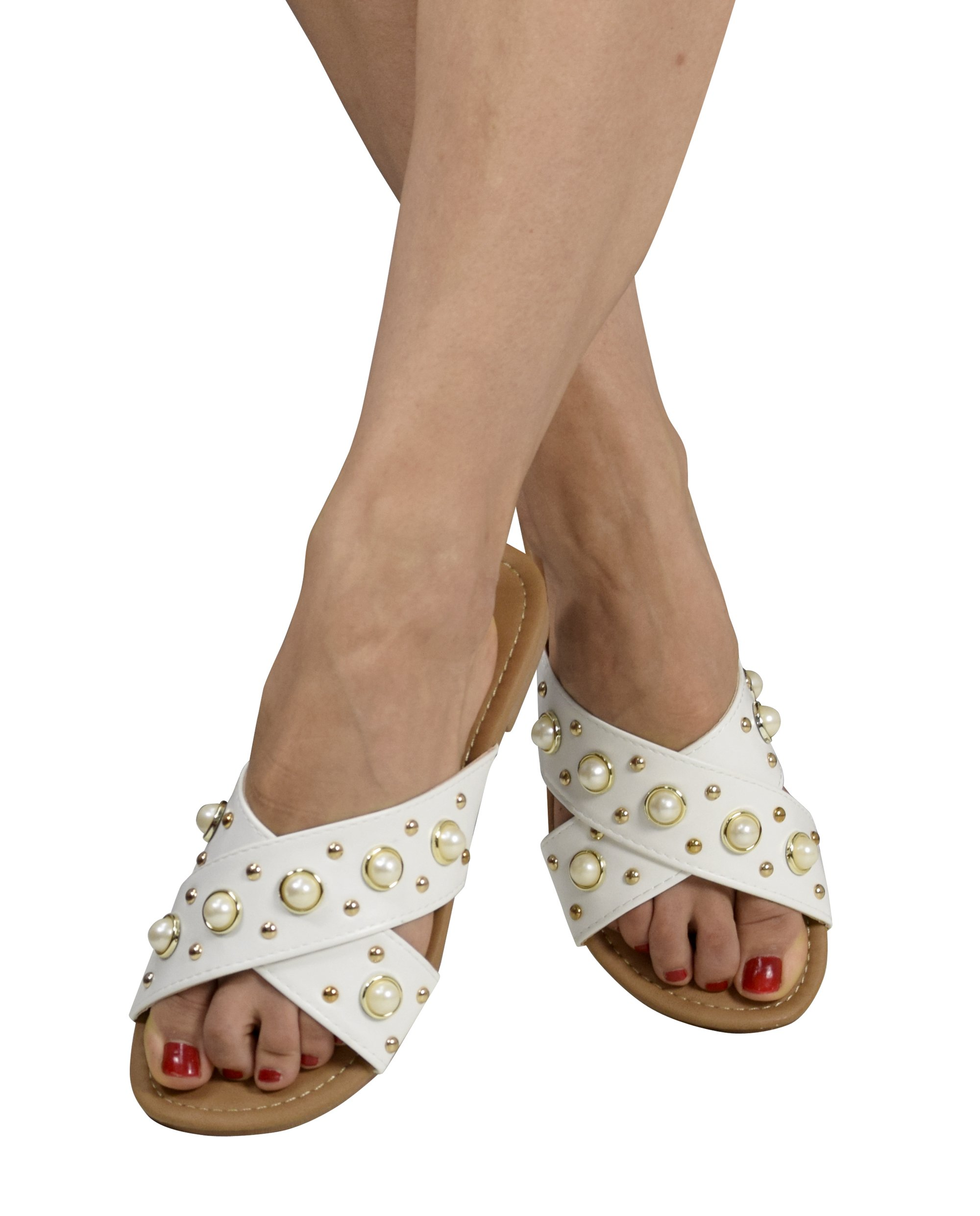 Peach Couture Womens Pearl Studded Criss Cross Band Slides Sandals White 9 B(M) US