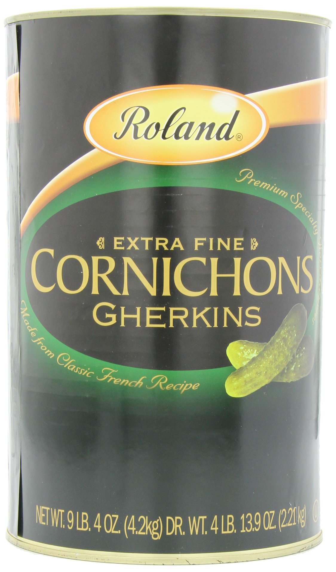 Roland Cornichons Gherkins, Extra Fine, 148 Ounce