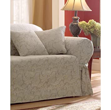 Amazoncom Sure Fit Scroll 1Piece Sofa Slipcover Champagne