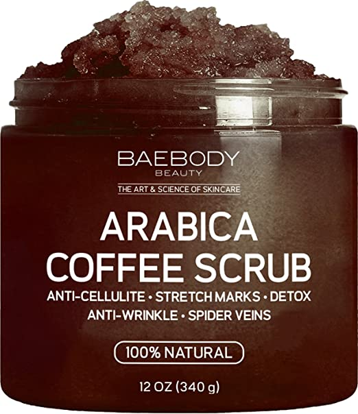 Baebody Arabica Coffee Scrub: Best Cellulite, Acne, Stretch Marks, Wrinkles Treatment. With Dead Sea Salt, Olive Oil, and Shea Butter. Natural Exfoliator, Moisturizer Promoting Radiant Skin 12oz.