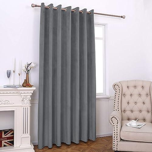 Lexrowen Grey Blackout Velvet Curtains 108 Inches Long Window Curtain Treatment - a good cheap window curtain panel