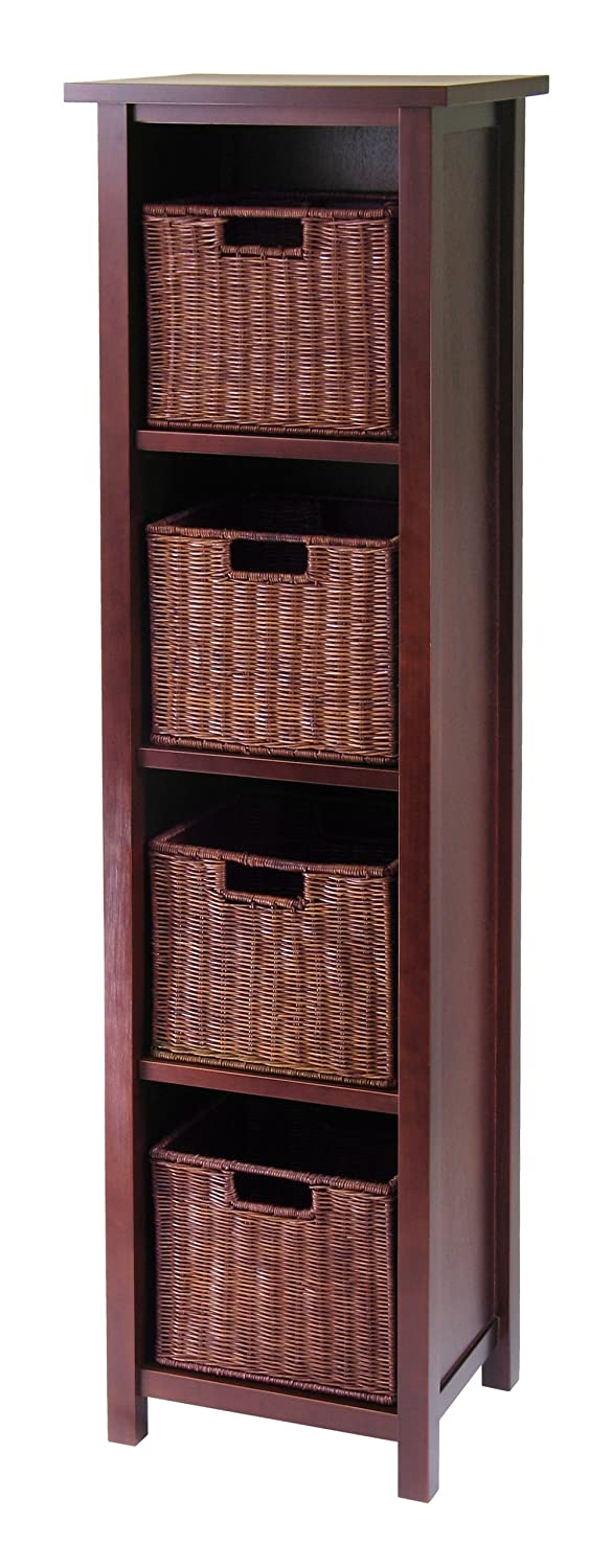 Winsome Wood Milan Wood 5 Tier Open Cabinet and 4 Rattan Baskets in Antique Walnut Finish 94411 10657