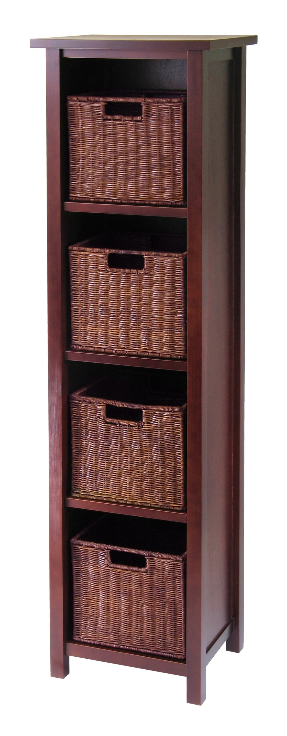 Winsome Wood Milan Wood 5 Tier Open Cabinet in Antique Walnut Finish and 4 Rattan Baskets in Antique Walnut Finish by Winsome Wood
