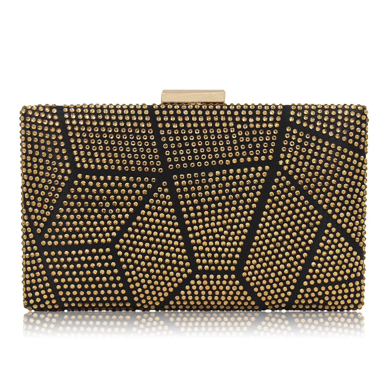 Women Clutches Crystal Evening Bags Clutch Purse Party Wedding Handbags (Gold)