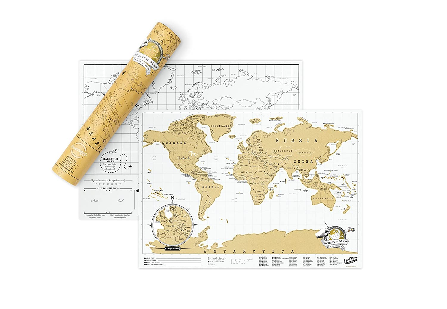 Amazon Scratch Map Travel Size Personalised World Map By – Luckies Of London Scratch Map Travel Edition