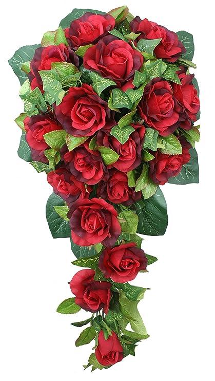Amazon.com: Red Silk Rose Cascade - Bridal Wedding Bouquet: Home ...