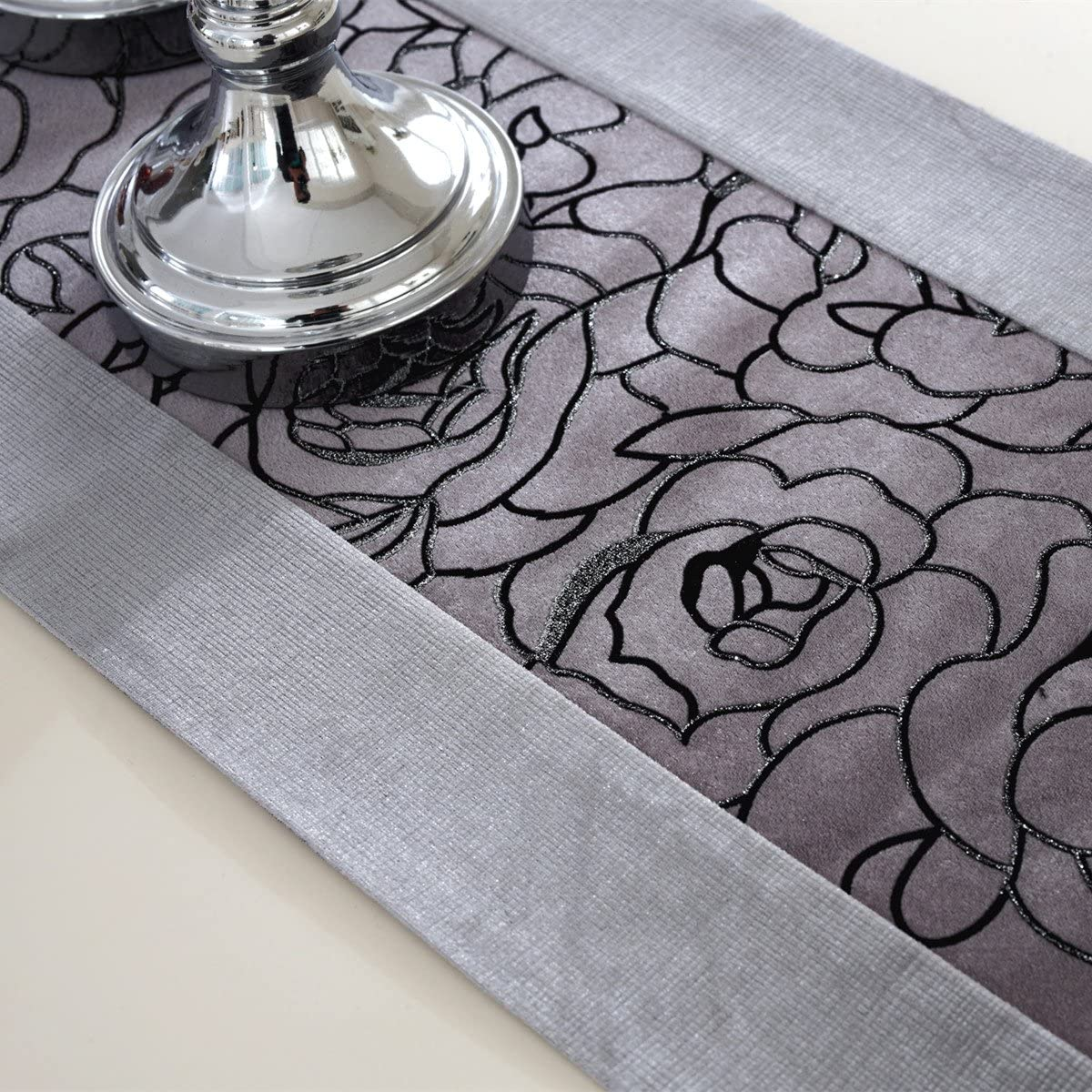 Morden grey flower embroidered blue velvet table runners tapestry 72 inch approx for party and wedding